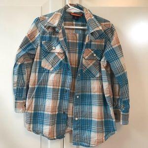 GAP blue and orange button down plaid shirt